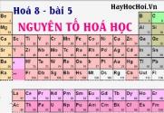Nguyên tố hoá học, bảng ký hiệu, nguyên tử khối và bài tập - hoá 8 bài 5